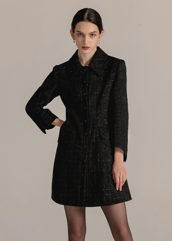 TWEED FLARE DRESS (BLACK)