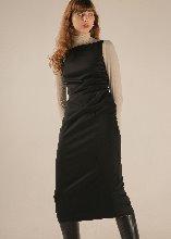 BOAT NECK WOOL DRESS (BLACK)