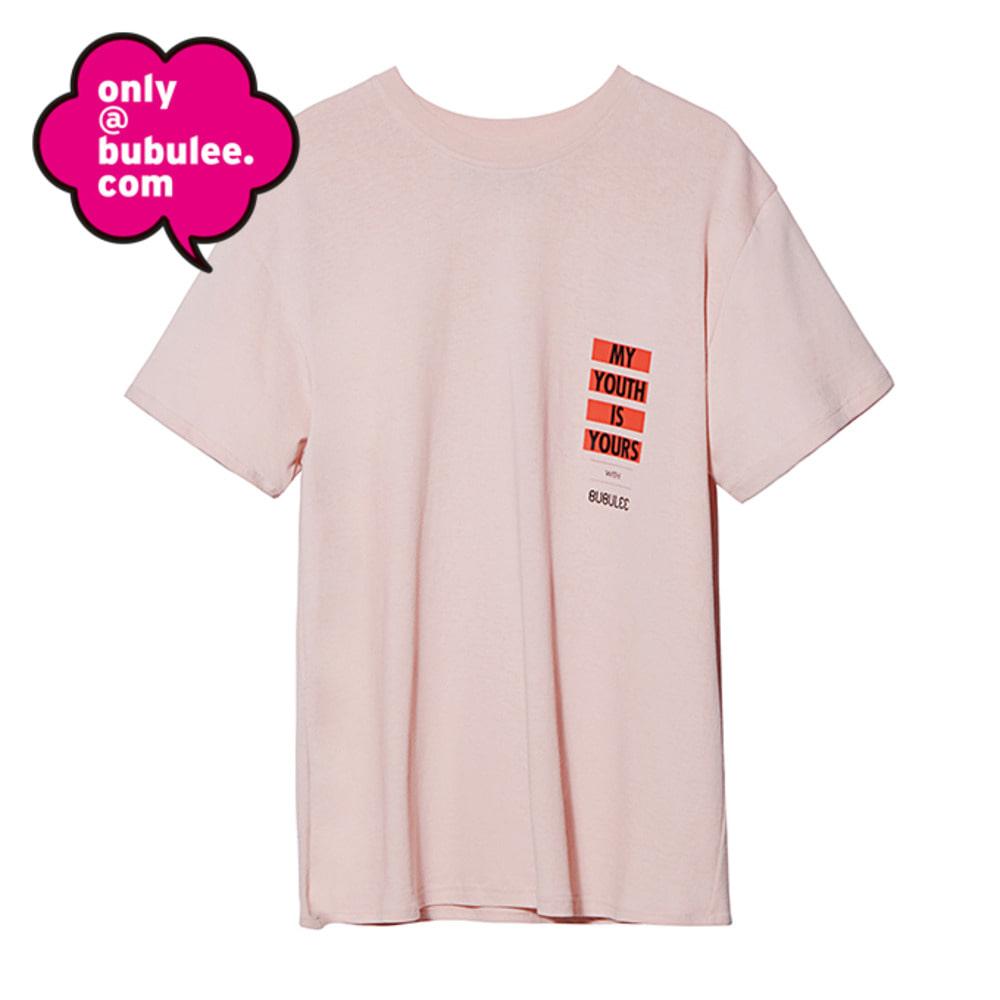 피치 루즈핏 티셔츠 - Pink