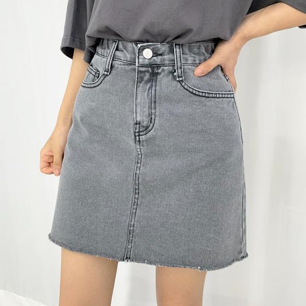 Glen Cutting Denim Skirt