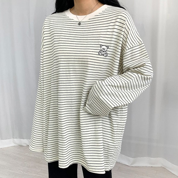Bear line embroidered striped long sleeve t-shirt