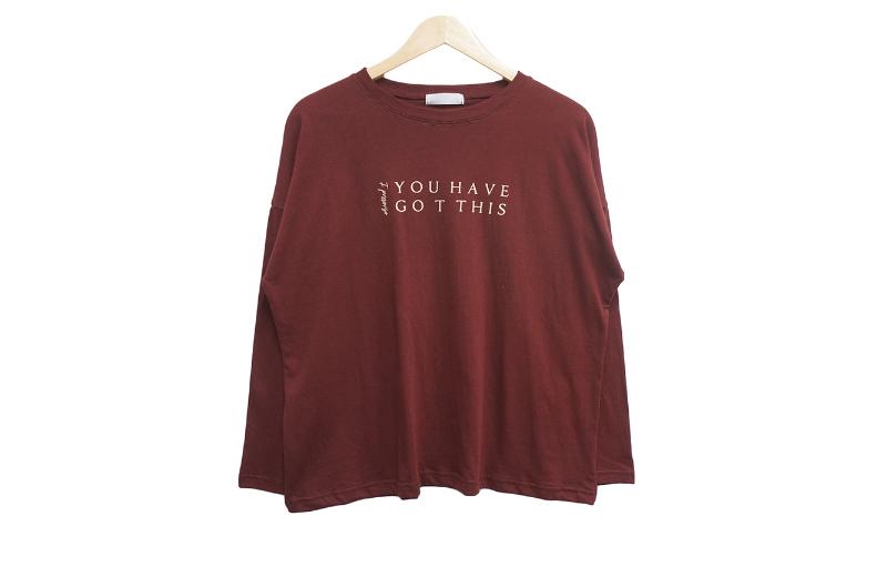 長袖Tシャツ バーガンディ 商品カラー画像-S1L8
