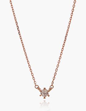 N0633 미니멀한 4월탄생석 다이아몬드 큐빅이 셋팅된 로즈골드 실버 체인 목걸이