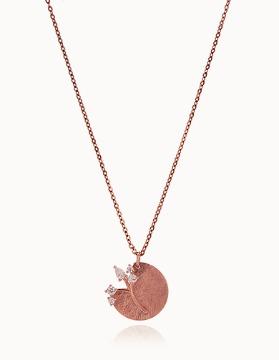 G0167 14K 핑크골드 나무 트리 코인 목걸이