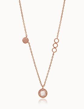 G0205 14K 장미석 원석 핑크골드 목걸이