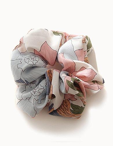 제이로렌 슈슈 패브릭 플라워 머리끈  H0571[플라워머리끈,패브릭머리끈,플라워헤어끈,플라워패턴,부드러운머리끈,바캉스룩,봄머리끈,여름머리끈,헤어신상]