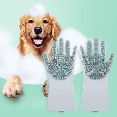 애견 목욕마사지 실리콘 장갑 강아지 고양이 털관리 미용용품