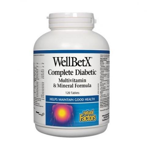 Natural Factors 내추럴 팩터스 - WellBetx Complete Diabetic Multivitamin/Mineral Formula 당뇨 멀티비타민/미네랄 포뮬라 120tabs
