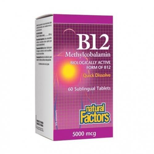 Natural Factors 내추럴 팩터스 - Vitamin B12 Methylcobalamin (빈혈/엽산보조제) 5000mcg 60tabs