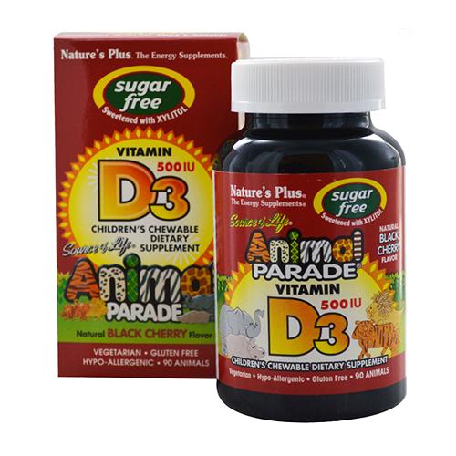 Nature's Plus Animal Parade Sugar Free Vitamin D3 500IU Chews 90CT