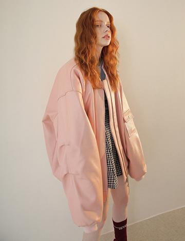 CLB/PROJECT [남녀공용]핑크 리얼레더 Ma-1 재킷 (Italy소가죽)