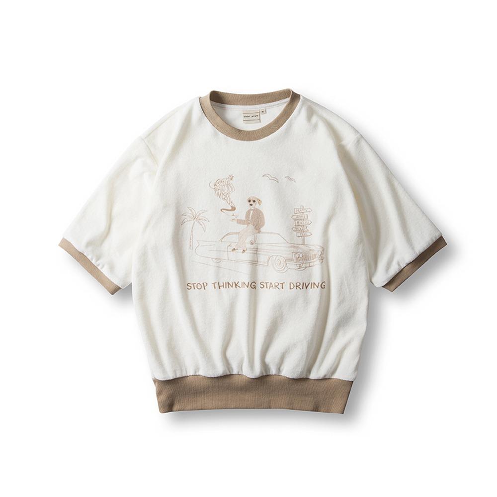 Terry Cotton T-Shirts- Beige