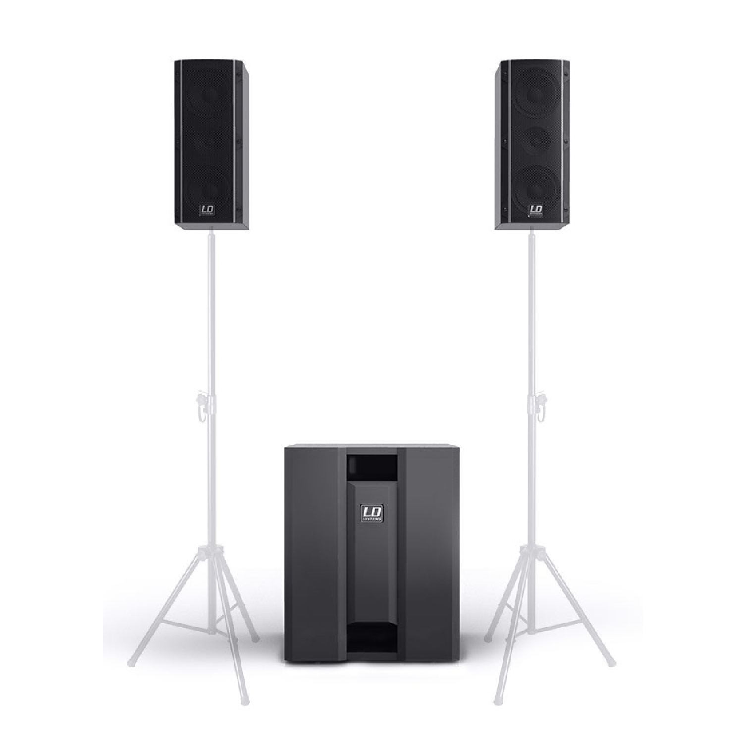 2.1 Portable Active PA System with 3 Channel mixer 1400 W Peak   LD DAVE 8 ROADIE ld system