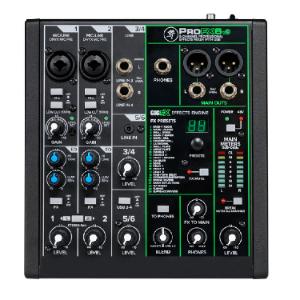 6 Channel Sound Reinforcement Mixer with Built-In FX, 2 x 4 USB 24 Bit 192 KHz Profx6V3