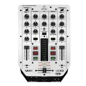 DJ MIXER 2 Channel with Beatcounter and VCA-controlled Ultraglade Fader VMX 200 behringer