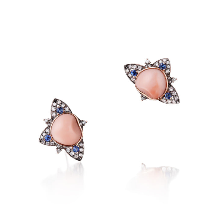 ANNA COMNENA PINK CORAL EARRING