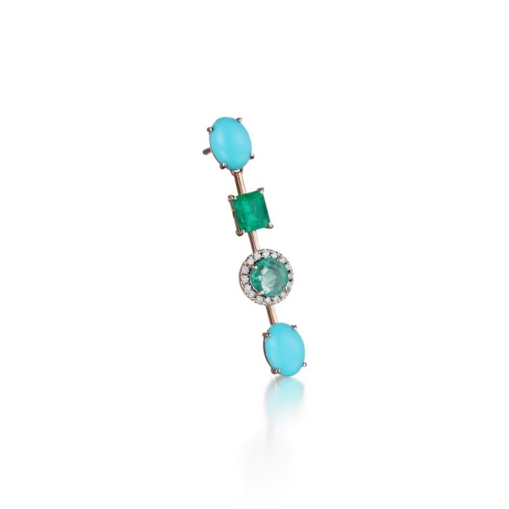 EDEN TURQUOISE AND EMERALD EARRING