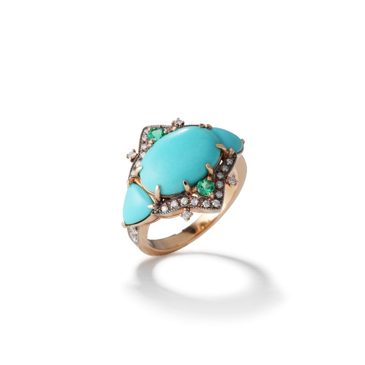 ANNA COMNENA TURQUOISE EMERALD RING
