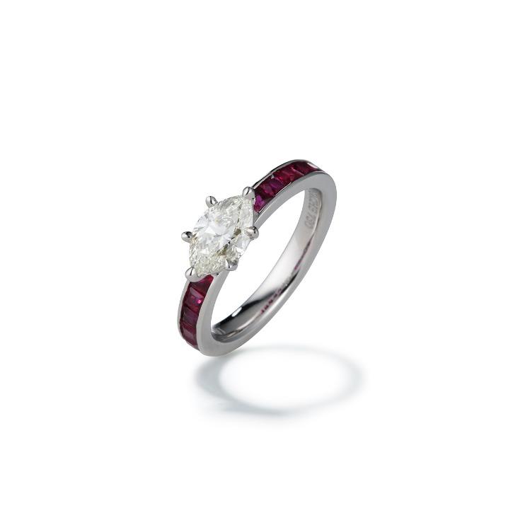 MARQUISE CUT DIAMOND RUBY ring