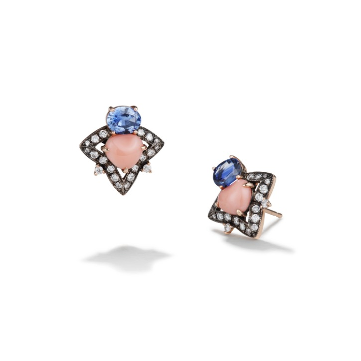 ANNA COMNENA PINK CORAL SAPPHIRE EARRING