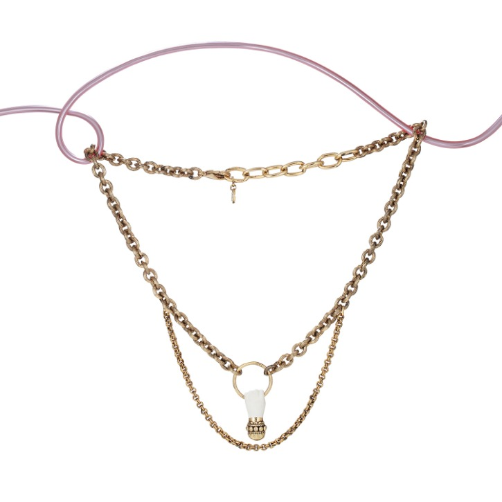 Grab Your Eye White Hand Double Chain Necklace