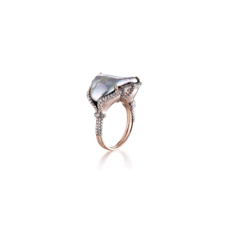 BAROQUE AIR ABALONE PEARL RING