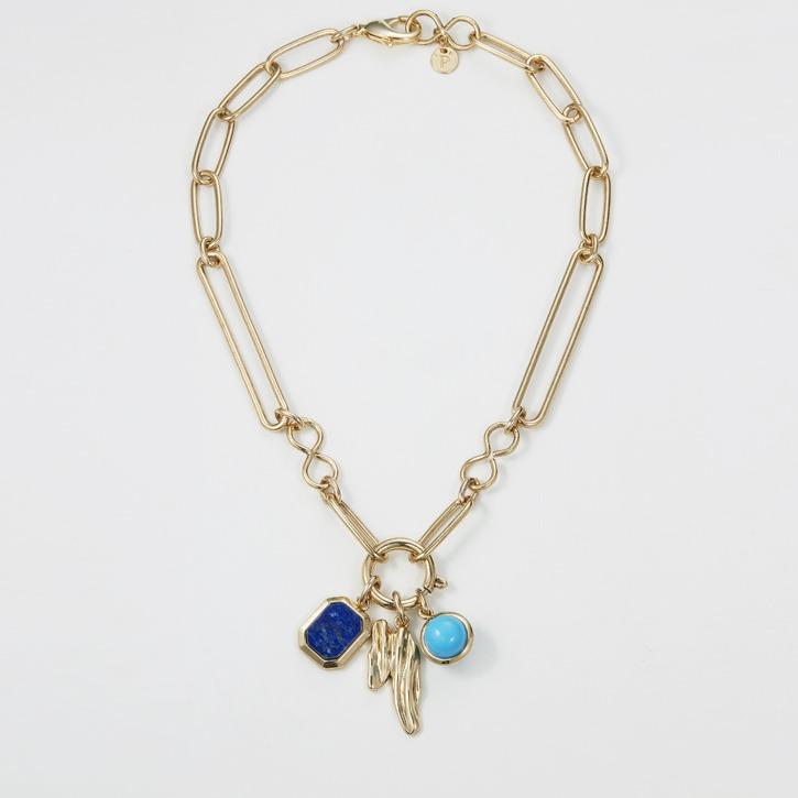 Blue Multi-charm Short Chain Necklace