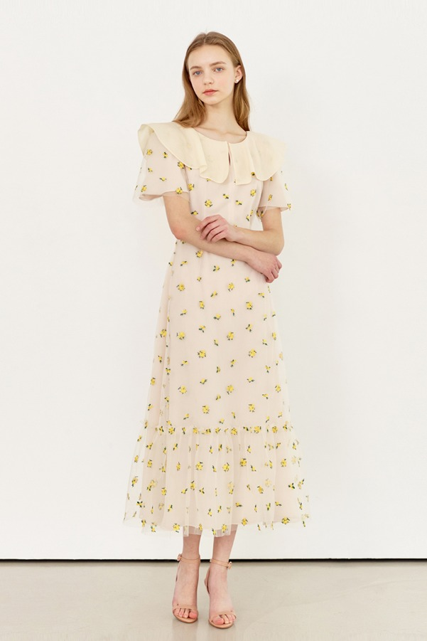 WENDY Oganza collar embroidered tulle dress_Misty yellow flower