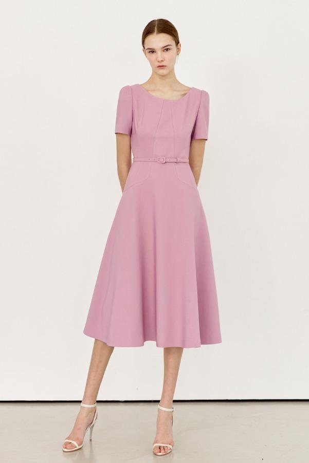 JULIA Scoop-neck flared dress (Pink lavender)