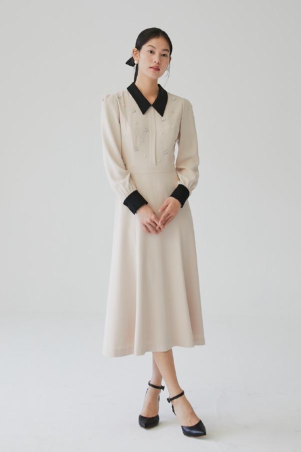 ESTELLE Beaded flare dress (Black & Pink beige)