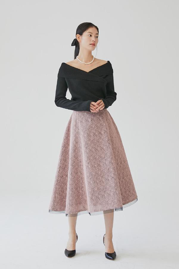 ZELDA Bonded lace voluminous skirt (Pink)