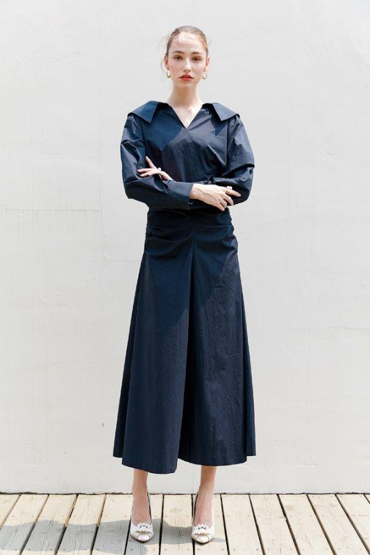 [장윤주, 박은빈 착용] KELLY v-neck long sleeve shirred shirt dress (Deep Navy)