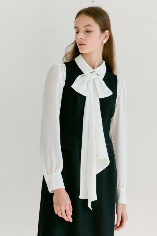 LIA Long sleeve detachable tie shirt blouse (Long ribbon) (Off White)