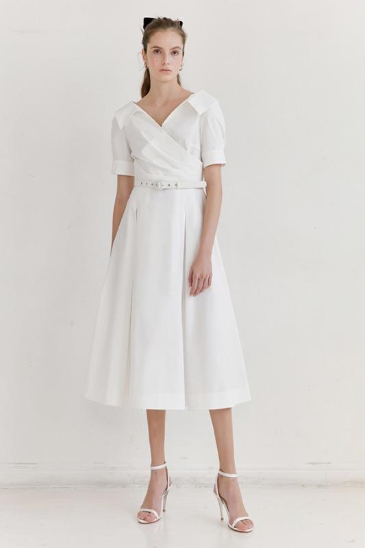 ELLIE V-neck short sleeve shirred shirt dress (Off White)