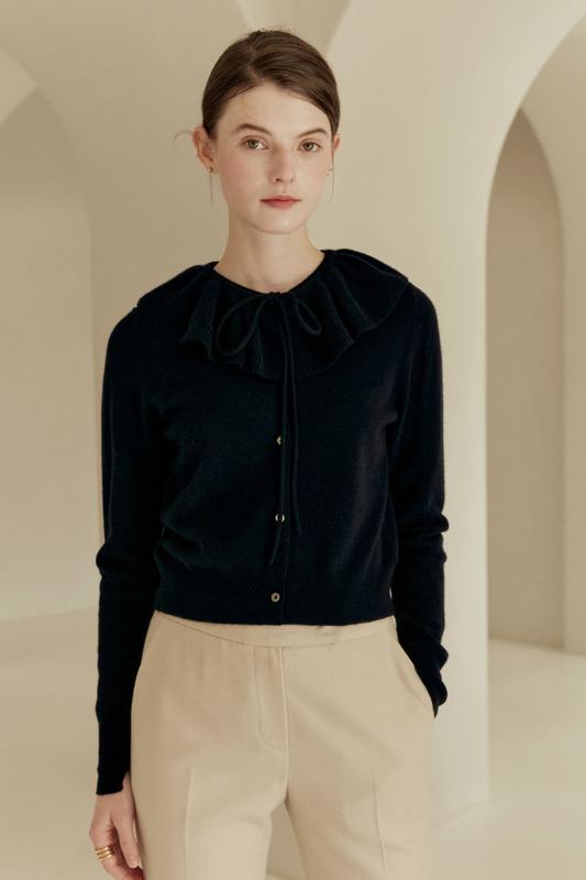 LENA Detachable collar round-neck cardigan (Navy)