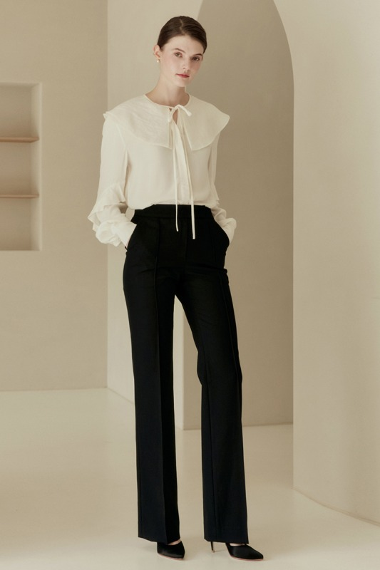 CECILE Pin tuck straight-fit trousers (Black)