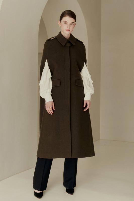 MONIQUE Long cape coat (Khaki)