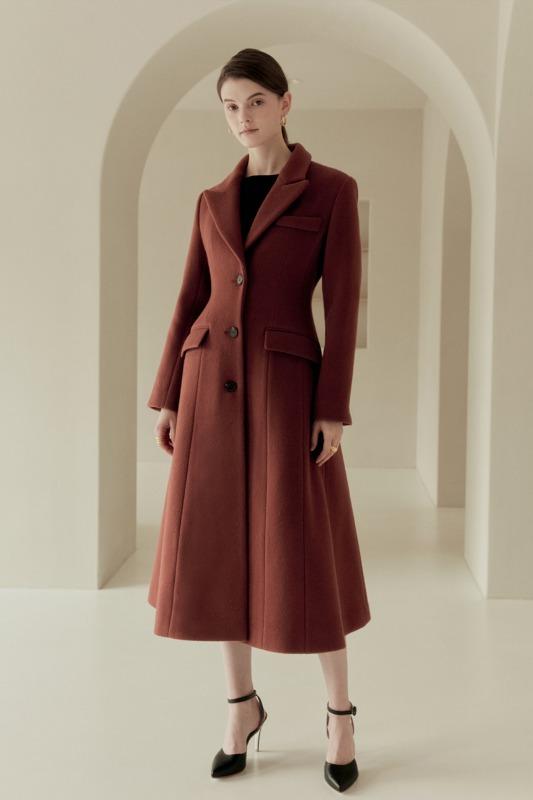 TANIA Classic A-line coat (Brick pink)