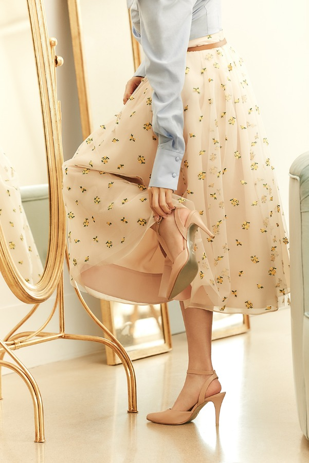 CHARMANT Embroidered tulle skirt (Misty yellow flower)
