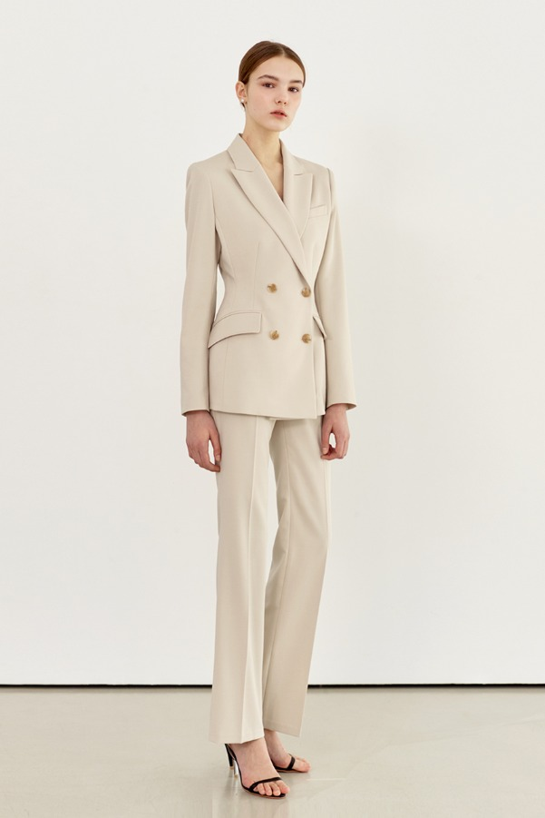 YVONNE Straight-fit trousers (Light sand beige)
