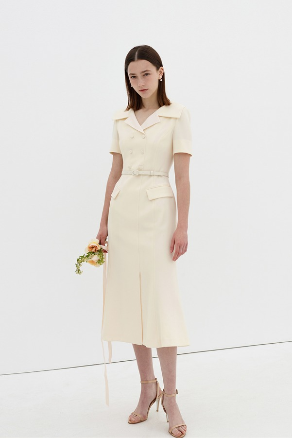 LOWELL Wide collar double-breasted detail dress (Cream ivory)