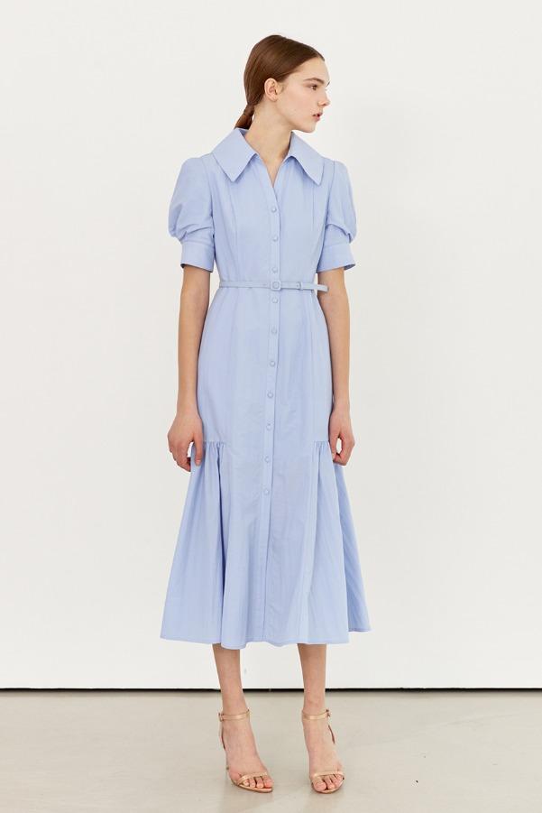MARGARET Pointed collar shirred detail dress (Light blue)