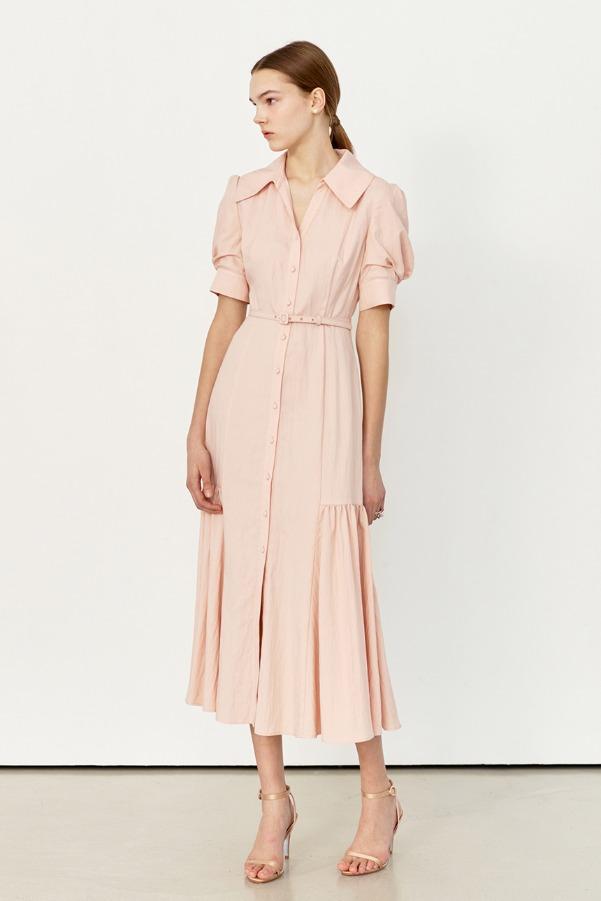 MARGARET Pointed collar shirred detail dress (Pastel pink)