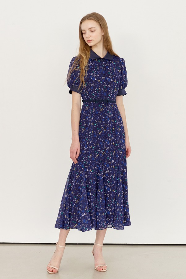 [6/25 예약배송]FLORENCE_Floral print round collar dress (Navy flower)