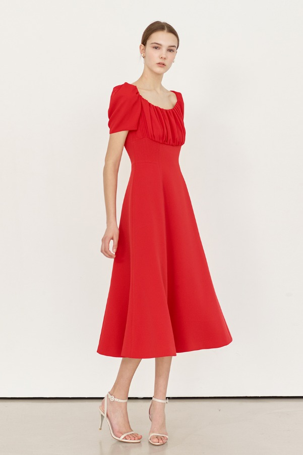 DOROTHY Shirred detail flare dress (Red)