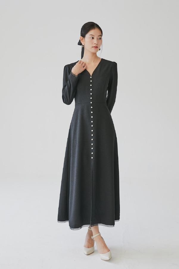 CHELSEA V-neck pearl buttoned maxi dress (Black)