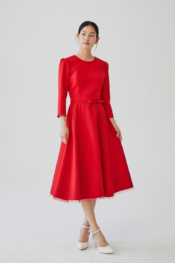 DAHLIA Round neck ribbon detailed dress (Red)
