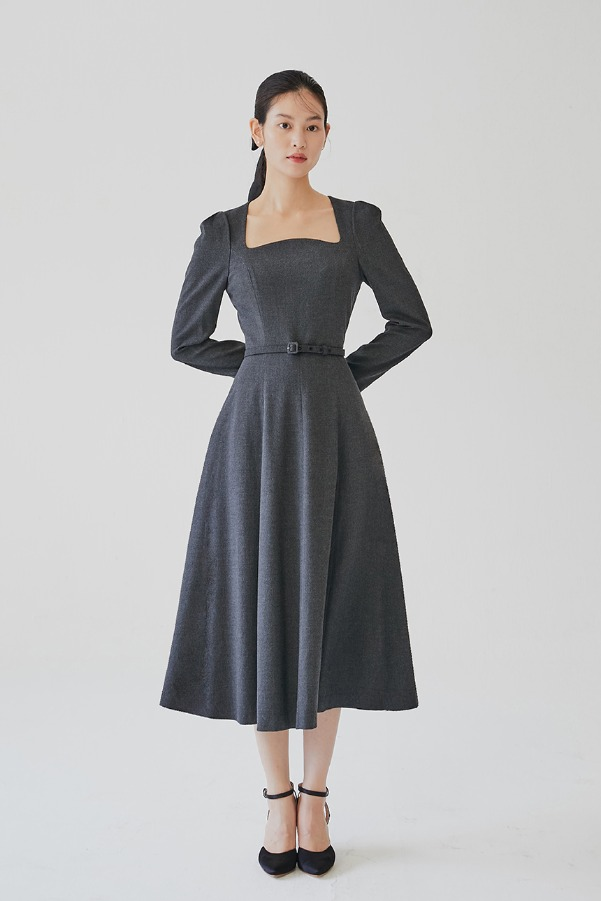 PENELOPE Square neck flared dress (Charcoal gray)