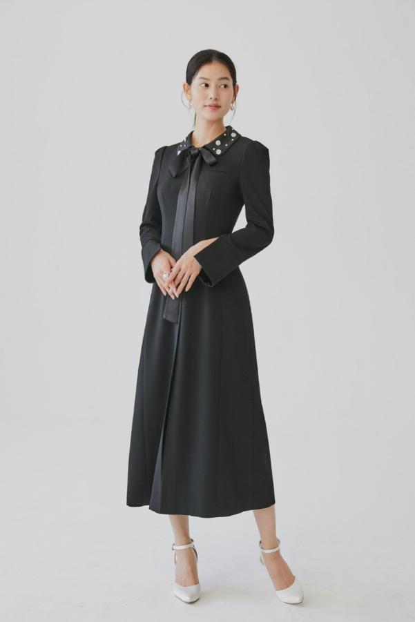 TIA Beaded collar dress (Black)