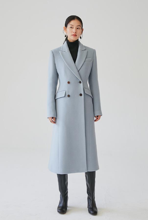 [11/11 예약배송]BRYNLEE Slim double breasted coat (Soft Blue)